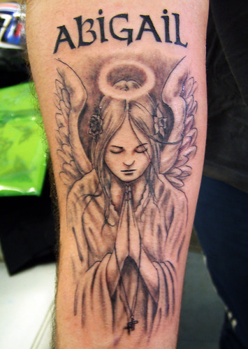 Grey Preying Angel Tattoo
