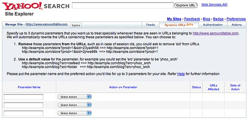 Yahoo Site Explorer Dynamic URL Feature