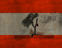 LebaNoN ,,  (Nasser Bouhadoud) Tags: lebanon man tree photoshop design pc war sad flag country 2006 arabic east arab adobe middle beirut nasser  saher  allil saherallil
