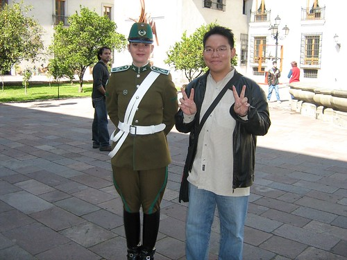 With a guard in La Moneda Presidential Palace