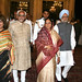 Hamid Ansari with Pratibha Patil and Manmohan Singh after his Oath