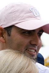 Luis Ayala in pink hat