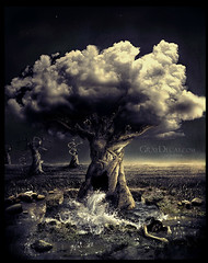 day (Marcela Bolvar) Tags: cloud water illustration photomanipulation dark lost photography gold golden digitalart surreal digitalpainting mysterious cloudtree waterinmotion decrepitude treeperson growingtree graydecay marcelabolivar waterfromatree exquizitetree