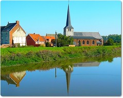 A church reflection (jackfre2 (on a trip-voyage-reis-reise)) Tags: trees houses reflection church water river canal bluesky antwerp mechelen heffen supershot thegalaxy zenne flickrdiamond mygearandmepremium riverzenne
