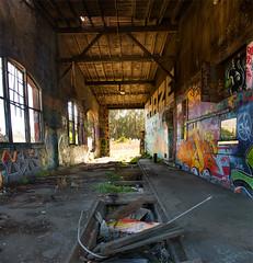 Abandoned Roundhouse (Section) (can_haZ_trainz) Tags: california ca railroad abandoned train graffiti caltrain san francisco south trains brisbane roundhouse
