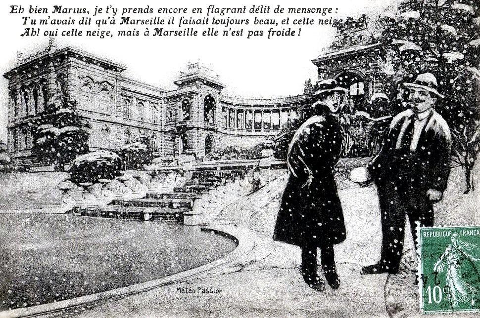 dessin humoristique sur Marius et la neige à Marseille