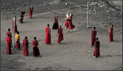 Monks playing Volley ball in the afternoon - by Sukanto Debnath