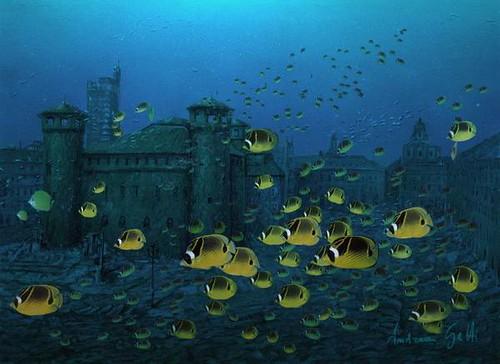 Piazza Castello con pesci gialli