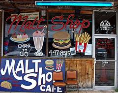 Malt Shop (Texas Finn) Tags: pictures food reflection window cafe neon texas palestine burger straw fries icecream storefront shake soda togo bananasplit malt burleson plateglass