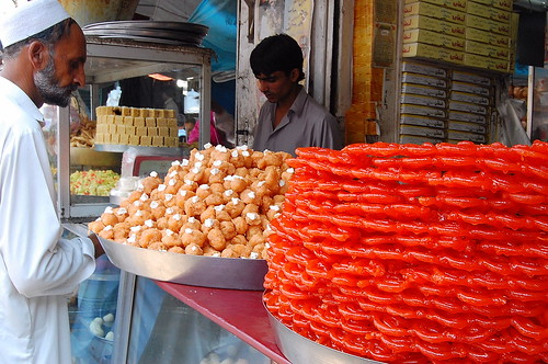 Sweets at Gujarkhan Bazar, Pakistan