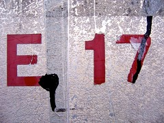 East 17 (London 2007) (Zohar Manor-Abel) Tags: uk red london texture wall typography paint letters postcode e 17 e17 walthamstow seventeen