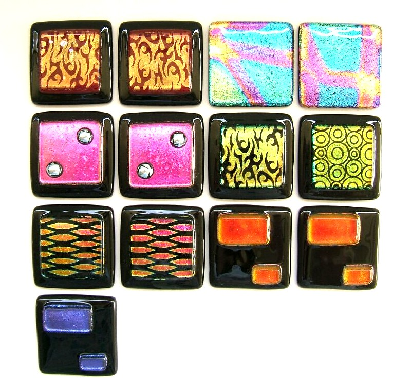 Glass Tiles in Dichroic Fused Glass 2 x 2 inch