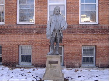 The zinc statue of Franklin was given to Vassar by J. P. Morgan.