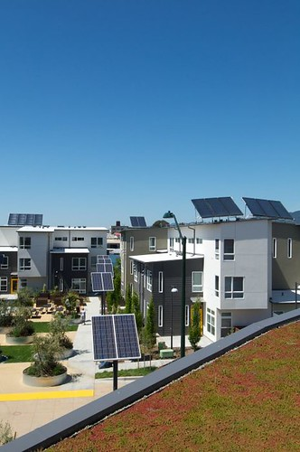 green roof, foreground, & solar panels (courtesy David Baker & Partners)