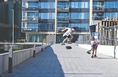 (EricNyberg) Tags: shadow sun house building green water grass bench demo switch harbor dock nikon skateboarding sweden flip skate skateboard pro mm 18 55 element vsters 2010 kickflip hamnen d80