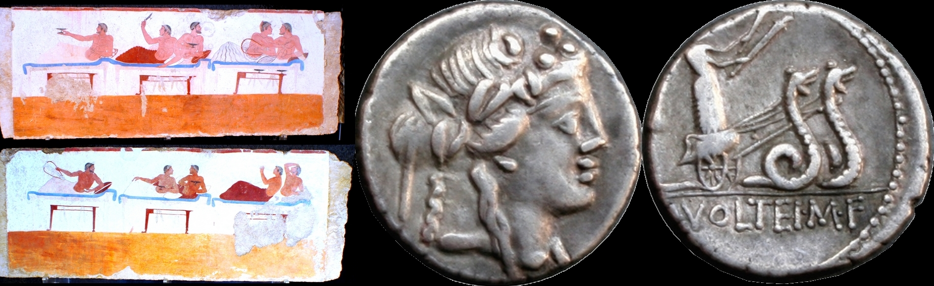 385/3 coin of Marcus Volteius with Bacchus god of wine and fun, with scene of wine, merrymaking and affection from Paestum's Tomb of the Diver 510BC