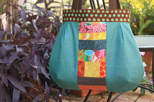 patchwork paneled bag