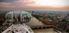 The London Eye - London - UK. (R.Azhari) Tags: uk bridge sunset sky building london eye water thames canon river landscape boat big sailing ben united peak gb highest mywinners kingdoom sx10is