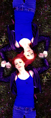The Queen of Hearts (chelsea cooper) Tags: sleeping reflection water grass hearts sleep redhead repetition redhair blueshirt leatherjacket playingcard laying thequeenofhearts layinggrass