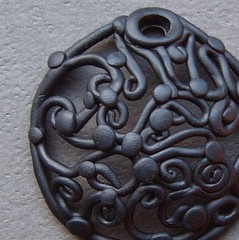 Wrought Iron-pendant (gabriel studios) Tags: black gabriel circle necklace handmade clay round etsy supplies pendant polymer focal pcagoe gabrielstudios