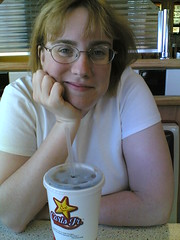 Joy enjoying a cola at Carl's Jr.