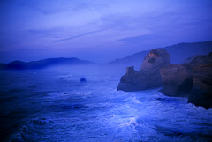 No place like home (Zeb Andrews) Tags: ocean beach oregon coast twilight surf stormy cliffs pacificocean pacificnorthwest nikonfm2 seas capekiwanda velvia50 fujivelvia bluemooncamera zebandrews zebandrewsphotography