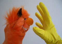 Not the yellow gloves! (helixdmonster) Tags: orange monster yellow hands puppets gloves helix rubbergloves handpuppets creepyhands yellowrubbergloves monsterhandpuppets helixdmonster
