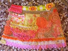patchamania skirt o' orange blossomy sunshiney love (blossomnbird) Tags: orange vintagefabric patchwork recycle crazypatchwork upcycle