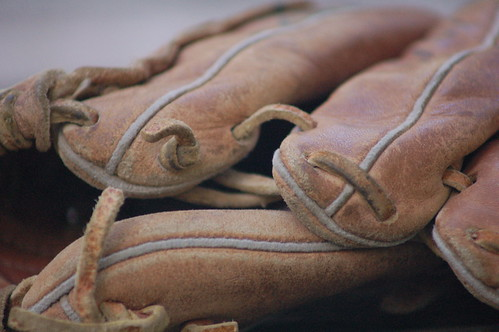 Closeup of a leather baseball glove