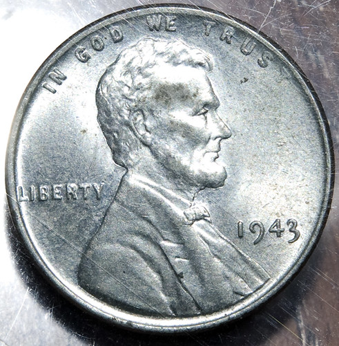In 1943, pennies were made with zinc coated steel (magnetic) instead of