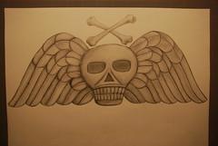 DSC_0008 (jreidfive) Tags: art stone pencil skull virginia wings cross drawing roanoke bones