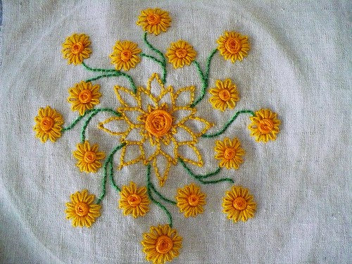Embroidered Sunflower Mandala