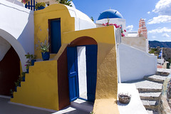Santorini - Oia houses (Carlo_it) Tags: blue sea house hot color church yellow stairs island hellas santorini greece carlo cyclades thira arioli  diamondclassphotographer flickrdiamond colourartaward artlegacy