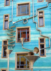 The Rain Theater (Matzepeng) Tags: blue art strange rain metal wall architecture facade yard silver court germany dresden pipes system explore funnel ih eavesgutter kunsthofpassage superaplus aplusphoto favemegroup6 platinumheartaward bachspicsgallery