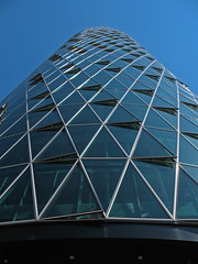 Helix (shutterBRI) Tags: city travel windows sky building glass architecture modern canon germany photography photo office downtown frankfurt perspective powershot lookup german tall westhafentower 2007 a630 shutterbri brianutesch brianuteschphotography