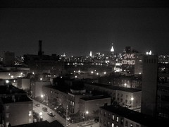 (Dave Surgan) Tags: city nyc blackandwhite bw ny newyork rooftop skyline brooklyn night glow williamsburg empirestatebuilding gothamist grainy domino rooftopparty dominosugarfactory savedomino