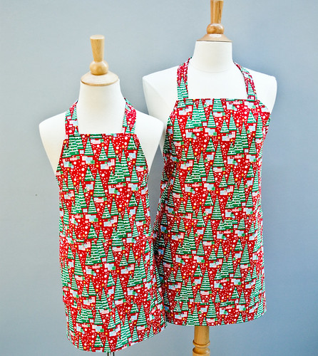 Bright Christmas Trees Apron Set