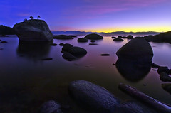 Bonsai Rock Twilight (David Shield Photography) Tags: longexposure trees sunset moon color landscape twilight nikon rocks nevada laketahoe easternsierras sandharbor crystalbay bonsairock