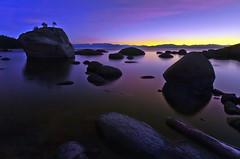 Bonsai Rock Twilight (David Shield Photography) Tags: longexposure trees sunset moon color landscape twilight nikon rocks nevada laketahoe easternsierras sandharbor crystalbay bonsairock