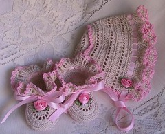 Ruffled Set - Natural/Pink (WendysKnitch) Tags: baby thread girl hat vintage crochet gift heirloom custom booties weetoesandnoggins