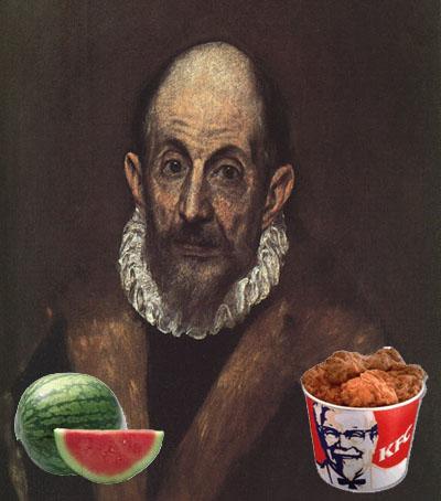 Autoretrato de El Greco con una sandía y un cubo de pollo frito de KFC
