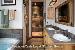 Custom Milled Log Home Bathroom | Idaho Log Home | by PrecisionCraft Log & Timber Homes (PrecisionCraft Log Homes & Timber Frame) Tags: homes usa house home architecture america bathroom design log cabin unitedstates interior room tahoe idaho logcabin northamerica custom residential luxury cabins loghouse islandpark logcabins loghome loghomes mountainhomes mountaindesign henryslake milled loghomeplans precisioncraft lognbsphome lognbsphomes loghomedesign loghomedesigns customloghomedesigns loghomefloorplans idahohomes loghomebathroom custommountaindesign