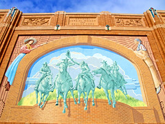 National Cow Girl Museum and Hall of Fame (Texas Finn) Tags: girls vacation sky horses horse color building brick art hat clouds fun 3d cowboy artist texas boots teal famous culture historic western halloffame cowgirl rider fortworth preservation riders willrogers blueribbonwinner richardhaas culturaldistrict westernart abigfave anawesomeshot colorphotoaward diamondclassphotographer destinationcity