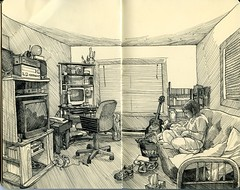 the living room (paul heaston) Tags: blackandwhite art moleskine drawing sketching sketchbook penandink