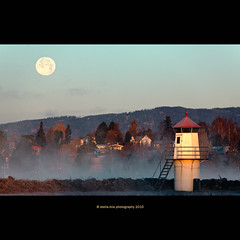 moonset (stella-mia) Tags: morning moon lighthouse mountains cold norway fog sunrise frost explore frontpage moonset hamar mjsa 70200mm coldair morningfrost bythelake explored extenderef2xii canon5dmkii lakemjsa frosttke bestcapturesaoi elitegalleryaoi annakrmcke tjuvholmenhamar