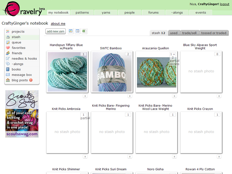 Ravelry Screenshot - Stash