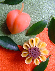August Wagashi (bananagranola (busy)) Tags: food orange flower green cake japan dessert japanese kyoto colorful sweets japanesefood ricecake wagashi thepainter