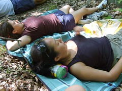 The girls make forest beds (NinaPasadena) Tags: statepark lake swimming mushrooms jeni hiking upstate gina bearmountain corwin harriman