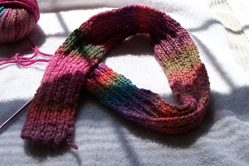 ribbed scarf, one skein in