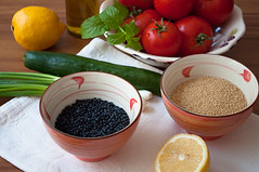 Ingredients (kulinarno) Tags: salad lemon cucumber tomatoes mint couscous     blacklentil   parsly